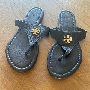 Tory Burch leather navy thong sandals